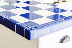 drip-edge tile on a kitchen countertop
