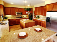 stone tile countertops in a custom kitchen