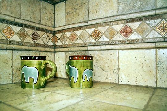 ceramic tile countertop and backsplash
